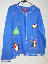 WOMENS UGLY CHRISTMAS SWEATER CARDIGAN FAUX PEARLS PENGUINS TREES XL