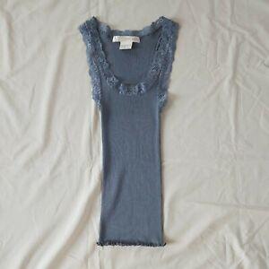 Patrick Gerard NEW 100% silk ribbed Jiro vest camisole Lace trim Blue T2 Size S