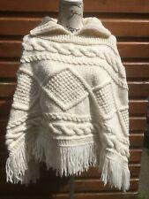 Aran Poncho UK 14 White Cable Hand Knit 42 Fringe Soft Ladies Top Cape Irish