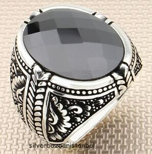 Heavy Lux Onyx Black Stone 925 Sterling Silver Turkish Mens Ring All Size Usa