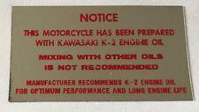 KAWASAKI KV75 Cuadro para Bicicleta de Mono Dos Tiempos Aceite Calcomanía de advertencia de precaución