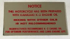 KAWASAKI KV75 MONKEY BIKE FRAME TWO STROKE OIL CAUTION WARNING DECAL