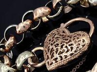 L04B- SOLID 9ct Genuine White & Rose Gold Belcher Heart PADLOCK Bracelet 19.5cm