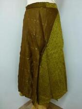 Damas Marrón/ocre indio Reciclado Sari envolver falda Pantorrilla (SB-WRP-6)