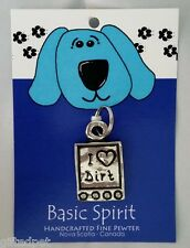 Handcrafted Pewter Dog Collar Tag ~ I (Heart) Dirt ~ by Basic Spirit