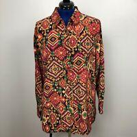 Susan Graver Women's Size L Long Sleeve Print Button Down Multicolor Shirt Top