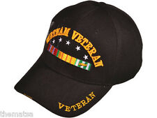 3D VIET NAM WAR VETERAN WITH RIBBONS SHADOW EMBROIDERED MILITARY BLACK HAT CAP