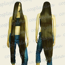 "50"" Heat Resistant Long Straight Wigs w 22"" Long Bangs Chestnut Brown Wig 9904A"