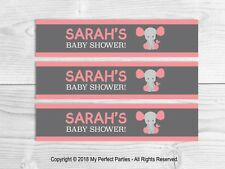 6 Personalised Pink, Elephant, Baby Girl Fruit Shoot Bottle Wrappers