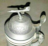 "Canadian Cold War Regimental Stein 1/2L Porcelain. ""1 ADHQ 1 Wing Black..."