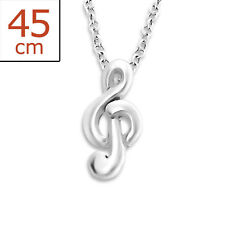 925 Sterling Silver Treble Clef Pendant Necklace Music Note G Clef & Gift Bag