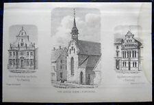 FLENSBURG Heiliggeistkirche usw. 3 origionale Lithographien von 1864