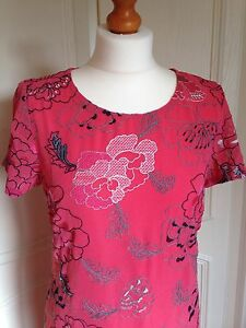 NEW PER UNA M&S SHIFT DRESS EMBROIDERED CHIFFON CORAL PINK FLORAL UK 8 - 24
