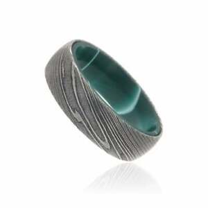 New 7mm Wide Damascus Steel Ring with a Green Resin Wave Inside Sleeve