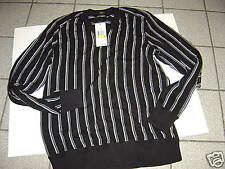 NEW MENS KENNETH COLE BLACK-WHITE STRIPED SWEATER SIZE M $79