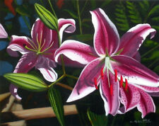 Pink Lily 2, Flower, Garden, Original Oil Painting, Signed, Wall Art, Home Deco