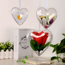 5-100 Pcs Heart Baubles For Christmas Decoration Tree Ornament Drop Fillable DIY