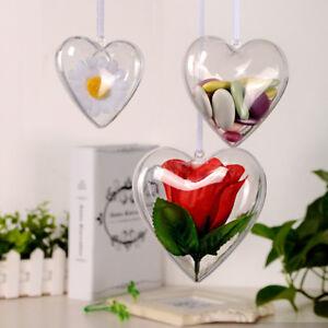 5-100 Pcs Heart Baubles For Christmas Decoration Tree Ornament Drop Fillable DIY