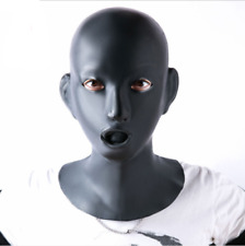 Female Natural Latex Mask Hood Eyes open with Mouth Gag Nose tube For Women