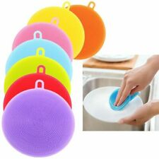 6x Colourful Bristled Silicone Dish Washing Sponges Scrubber Kitchen Cleaning