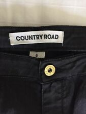 COUNTRY ROAD Chic Coated Cotton Skinny Jean Black Wash  8 $119.00