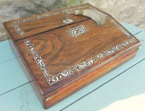 An Antique Writing Box. Rosewood & MoP Inlays 1880's.Lock & Key.  (335)