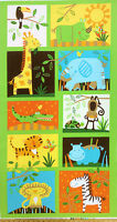 Childrens Jungle Animals Quilt Fabric Panel Timeless Treasures Cotton 23x44 in
