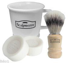 Scalpmaster 4-piece Shaving set Mug-Brush-2 cake soaps