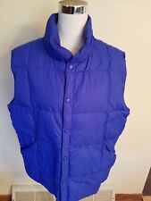 Lands End Mens Goose Down Puffer Vest  Blue L 42-44