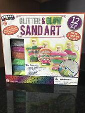 Create Your Own Glitter & Glow Sand Art Kit -12 Pieces 4 Shaped Bottles , New