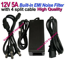 DC 12V 5A Power Supply Adapter EMI Noise Filter +4 Split Power Cable CCTV Camera