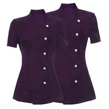 2x Dark Purple Salon Spa Beauty Uniform Tunic Coat Shirt for Women