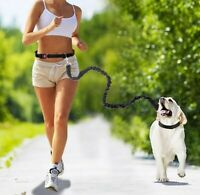 Strong Nylon Dog Running Lead Flexible Adjustable Leash Waist Belt Hands Free