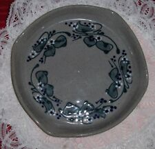 Great Bay Pottery Dish Bowl Hand Made Art Pottery Floral Berry Vine Plate NH USA