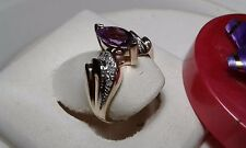 1.10cttw Natural Marquise Amethyst & Diamond 10Kt Yellow Gold Offset Ring #7588A