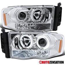 02-05 Dodge Ram Pickup Chrome LED DRL Halo Projector Headlights