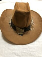 Bee Hats Custom Made Mens Tan Cattleman's Feather Cowboy Hat - Size XL