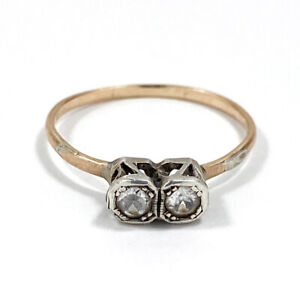 """Antique 9ct Rose Gold """"Toi Et Moi"""" Ring With White Sapphires Size O - 1920s"""