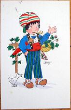 1930 Edmond Sornein/Artist-Signed French Postcard: Child/Boy Smoking Pipe, Duck