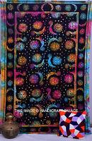 Celestial Indian Sun Moon Black Tapestry Stars Bedspread Twin Art Wall Hanging
