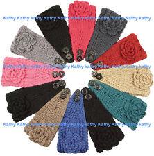 Wholesale 12PCS HEADWEAR Crochet Solid Rosette Knit Headwrap Headband Ear Warmer