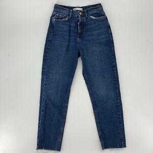 Zara High Rise Cigarette Jeans Womens Size 4 26 Vintage Slim Unfinished Hem
