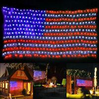 American US Flag 420 LED String Light July 4th Decorative Hanging USA Flag Light
