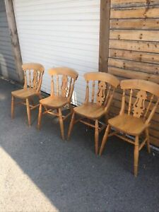 4 Solid Pine Farmhouse Country Style Kitchen Dining Chairs