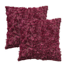 2Pcs Cushion Covers Pillows Cases Shell Solid 3D Stereo Chiffon Rose Flower Sofa