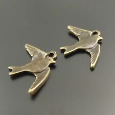 Retro Bronze Zinc Alloy Cute Swallows Look Pendant Charms Jewelry 23*16mm 10pcs