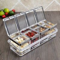 Acrylic Clear Seasoning Box Separable Spice Rack Jar Sugar Organizer Container