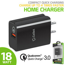 Cellet 4x Faster Compact Quick Charger for iPhone XS Galaxy 10+ Note 9 Pixel 3