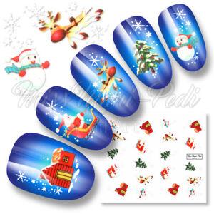 Nail Art Water Decals Transfers Stickers Christmas Santa Rudolf Snowflakes K005