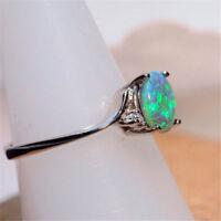 Vintage Green Fire Opal Gems 925 Silver Wedding Engagement Ring Women Jewelry